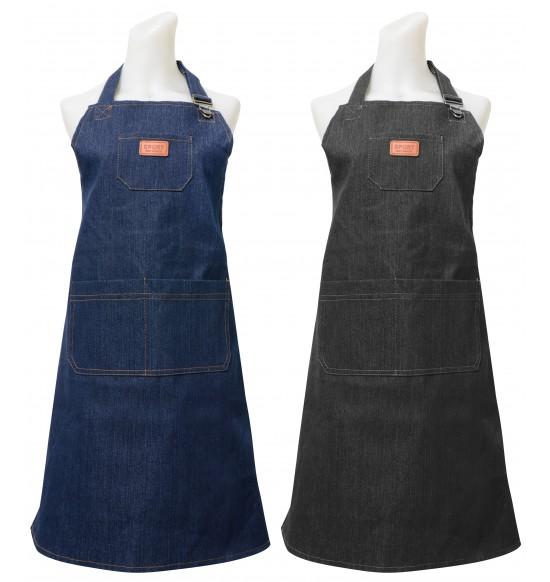 HM509 厚牛仔圍裙-藍.黑(胸前多一口袋)