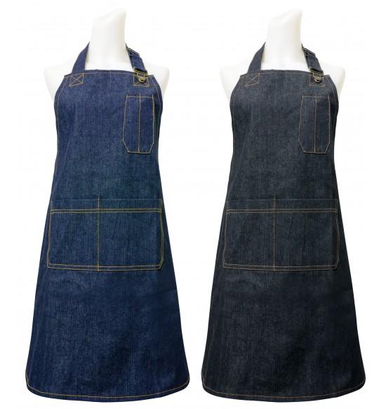 HM510 厚牛仔圍裙-黑.藍(胸前有筆袋)
