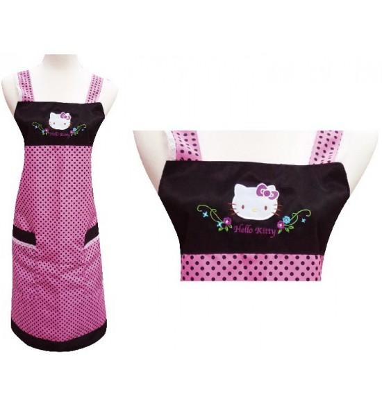 KT-0750A Hello Kitty 圓點圍裙-黑色