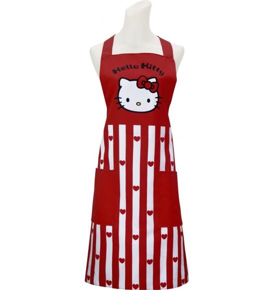 KT2010 Hello Kitty 紅心條紋圍裙