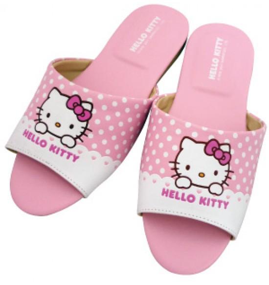Hello Kitty 圓點室內皮拖-粉
