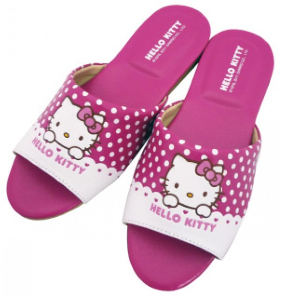 Hello Kitty 圓點室內皮拖-桃